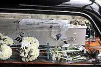 Pictured: The casket of Scott Bryant arriving at Morriston Crematorium.<br />