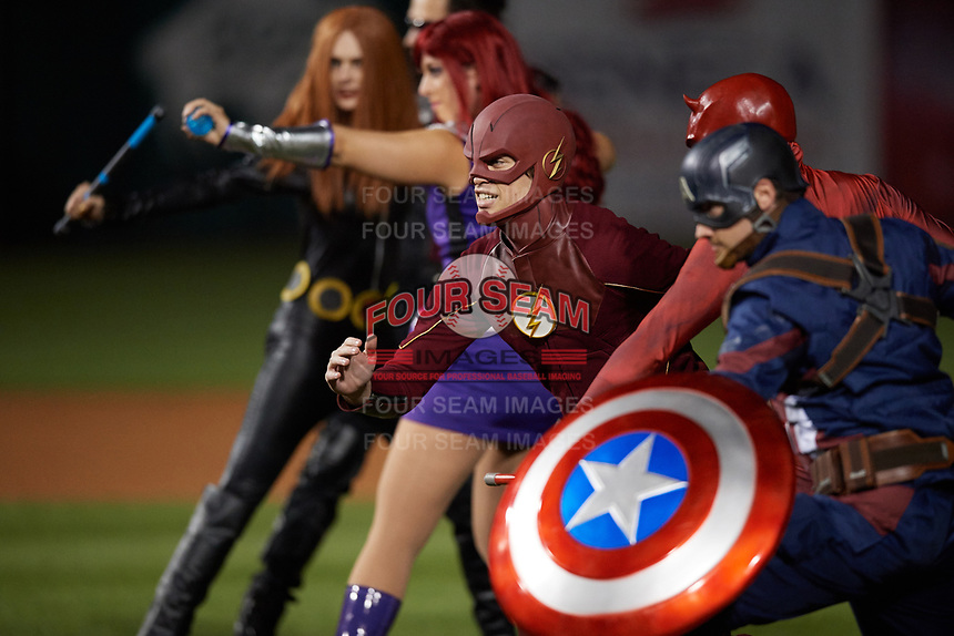 An actor portraying The Flash during an on field performance after a Buffalo Bisons game against the Gwinnett Braves on August 19, 2017 at Coca-Cola Field in Buffalo, New York.  The Bisons wore special Superhero jerseys for Superhero Night.  Gwinnett defeated Buffalo 1-0.  (Mike Janes/Four Seam Images)