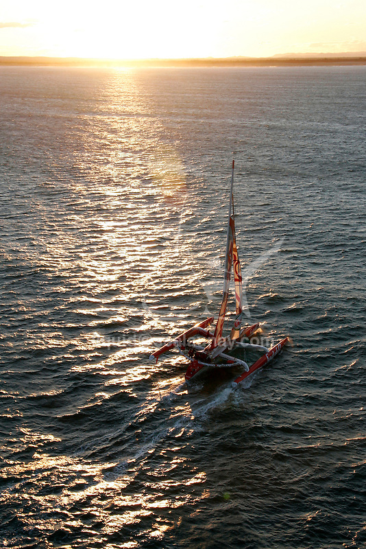 Aerial view for the first test sails of the 105 feet trimaran Sodeb'O, skipper Thomas Coville..Designed by Nigel Irens and Benoît Cabaret, the maxi-Sodeb'O been built and launched in Australia in June 2007, this 32 m long three hulled machine (105 feet) and 16.55 m wide (55 feet) craft is equipped with a 35 m mast and can carry up to 650 square metres of sail area..