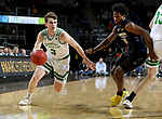 SIOUX FALLS, SD - MARCH 8: Billy Brown #3 of the North Dakota Fighting Hawks drives past DeMierre Black #24 of the PFW Mastodons at the 2020 Summit League Basketball Championship in Sioux Falls, SD. (Photo by Dave Eggen/Inertia)
