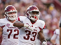 Hawgs Illustrated/BEN GOFF <br /> David Williams (33), Arkansas running back, celebrates after scoring a touchdown in the first half against South Carolina Saturday, Oct. 7, 2017, at Williams-Brice Stadium in Columbia, S.C. The touchdown was nullified on review, Williams having stepped out of bounds.