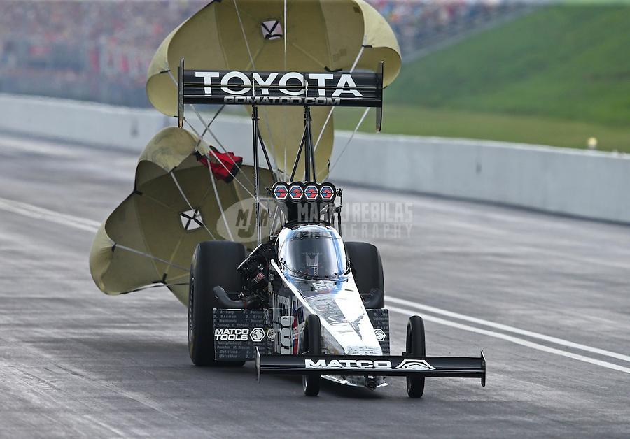 Jun 20, 2015; Bristol, TN, USA; NHRA top fuel driver Antron Brown during qualifying for the Thunder Valley Nationals at Bristol Dragway. Mandatory Credit: Mark J. Rebilas-