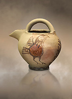 Bridge spouted jug bird decorated. Early Cycladic I (1650-1550 BC); Phylakopi; Melos. National Archaeological Museum Athens. Cat No 5768.<br /> <br /> During this Cycladic period the pottery designs were heavily influenced by Cretean minoan with pottery like this using bird patterns.