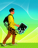 Teenager with pixellated school bag