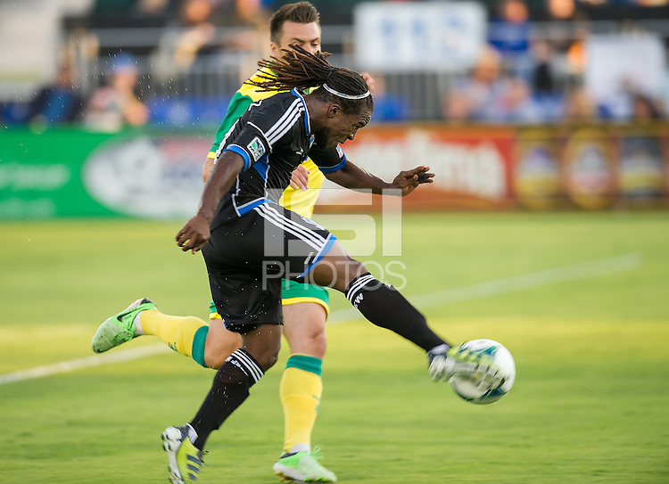 SANTA CLARA, CA - Saturday July 20, 2013:  San Jose Earthquakes midfielder Walter Martinez (10) during the San Jose Earthquakes vs Norwich City F.C. Canaries match in Buck Shaw Stadium in Santa Clara, CA. Final score SJ Earthquakes 1, Norwich City F.C. Canaries 0.