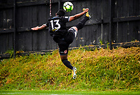 Team Wellington's Roy Kayara leaps up for the ball during the Oceania Football Championship final (first leg) football match between Team Wellington and Lautoka FC at David Farrington Park in Wellington, New Zealand on Sunday, 13 May 2018. Photo: Dave Lintott / lintottphoto.co.nz