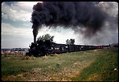 D&amp;RGW #456 K-27 which consist of stock and box cars possibly west of Gunnison.<br /> D&amp;RGW  west of Gunnison ?, CO