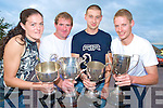 Tina Healy, junior women, Declan Daly, senior six, Martin Leahy, senior fours and Paul Bradley, novice six's, pictured with the clubs silverware at the Fossa Rowing Club steak night in the Old Killarney Inn, Aghadoe on Saturday night......