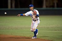 AZL Dodgers second baseman Kenneth Betancourt (3) throws to first base during an Arizona League game against the AZL White Sox at Camelback Ranch on July 3, 2018 in Glendale, Arizona. The AZL Dodgers defeated the AZL White Sox by a score of 10-5. (Zachary Lucy/Four Seam Images)