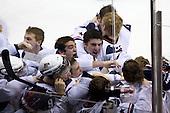 Matt Donovan (USA - 4), Philip McRae (USA - 9), Jason Zucker (USA - 16), Jerry D'Amigo (USA - 29), Kyle Palmieri (USA - 23), (Lee, Campbell) - Team USA celebrates after defeating Team Canada 6-5 (OT) to win the gold medal in the 2010 World Juniors tournament on Tuesday, January 5, 2010, at the Credit Union Centre in Saskatoon, Saskatchewan.