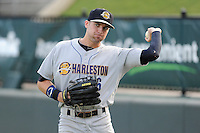 Outfielder Jake Cave (6) of the Charleston RiverDogs before a game against the Greenville Drive on Wednesday, August 28, 2013, at Fluor Field at the West End in Greenville, South Carolina. Greenville won, 2-1. (Tom Priddy/Four Seam Images)