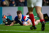 10th February 2019, Twickenham Stadium, London, England; Guinness Six Nations Rugby, England versus France; Damian Penaud of France scores a try near half time