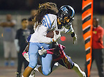 Lawndale, CA 10/14/16 - Sebastian Mataele (North Torrance #81) and Demontti Peoples (Leuzinger #5) in action during the North Torrance vs Leuzinger CIF League football game.