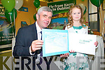 Chairman of Aer Arann Padraig O'Ceidigh wit the winner of the art competition to mark the launch of the Aer Arann Kerry Dublin flights.