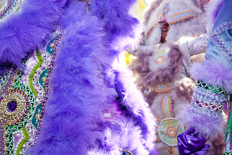 The 7th Ward Creole Hunters face off against the Fi Yi Yi Mardi Gras Indians (in purple), in the Treme neighborhood of New Orleans on Mardi Gras day, February 16, 2010.