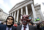 masked protesters infront of the Bank of England.<br /> Thousands of protesters marched on the Bank of England incity of London during the G20 conference meeting  in London April 2009 , RBS  Bank windows were smashed on the ground floor.  Police made around 90 arrests.