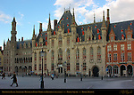 Provincial Palace, Neogothic Ministry of Public Works and Posteruen Post Office, Market Square, Bruges, Brugge, Belgium