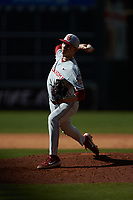 Oklahoma Sooners relief pitcher Aaron Brooks (17) in action against the Missouri Tigers in game four of the 2020 Shriners Hospitals for Children College Classic at Minute Maid Park on February 29, 2020 in Houston, Texas. The Tigers defeated the Sooners 8-7. (Brian Westerholt/Four Seam Images)