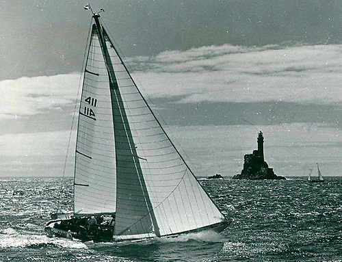 "The ""stately Moonduster"" at the Rock in the 1969 Fastnet Race"