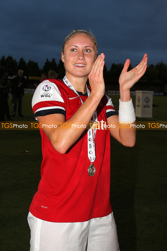 Steph Houghton of Arsenal celebrates winning the FAWSL Championship  - Arsenal Ladies vs Doncaster Rovers Belles - FA Womens Super League Football at Boreham Wood FC - 30/09/12 - MANDATORY CREDIT: Gavin Ellis/TGSPHOTO - Self billing applies where appropriate - 0845 094 6026 - contact@tgsphoto.co.uk - NO UNPAID USE.