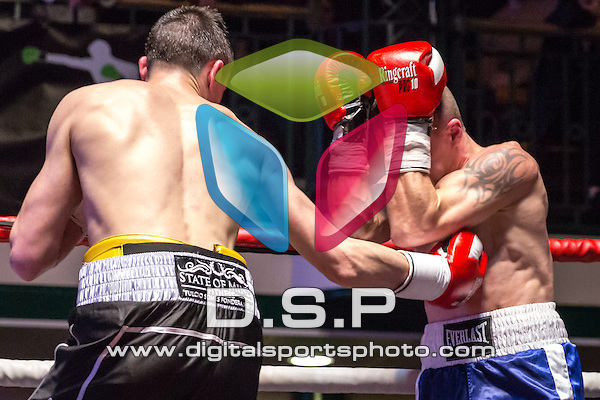 Dean Richardson VS Aleksejs Grustans - Welterweight Contest. Photo by: Stephen Smith.<br /> <br /> Goodwin Boxing: Paddy's Day Punch Up - Saturday 19th March 2016. York Hall, Bethnal Green, London, United Kingdom.
