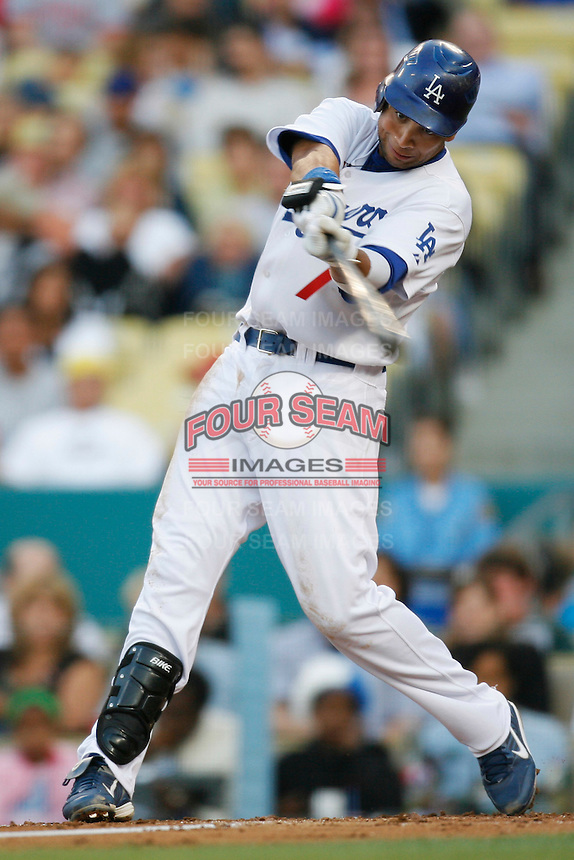 James Loney of the Los Angeles Dodgers during a 2007 MLB season game at Dodger Stadium in Los Angeles, California. (Larry Goren/Four Seam Images)