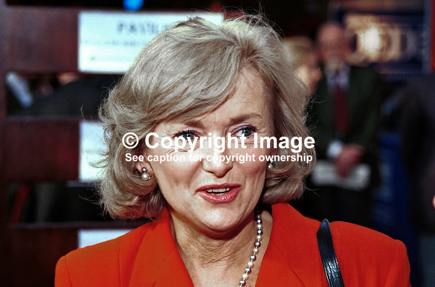Glenys Kinnock, MEP, Labour Party, Britain, UK. Wife of Neil Kinnock, former MP , leader of UK Labour Party, presently a EU commissioner. Photograph taken at 1996 Labour Party Conference. Ref: 199610197.<br />