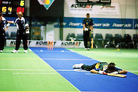 Australia Under 19 Girls' Rhiannon Paulson had a torrid time against South Africa.<br /> 2003 Indoor Cricket World Under 19 Championships, Christchurch, New Zealand
