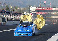 Feb 8, 2019; Pomona, CA, USA; NHRA funny car driver Tommy Johnson Jr during qualifying for the Winternationals at Auto Club Raceway at Pomona. Mandatory Credit: Mark J. Rebilas-USA TODAY Sports