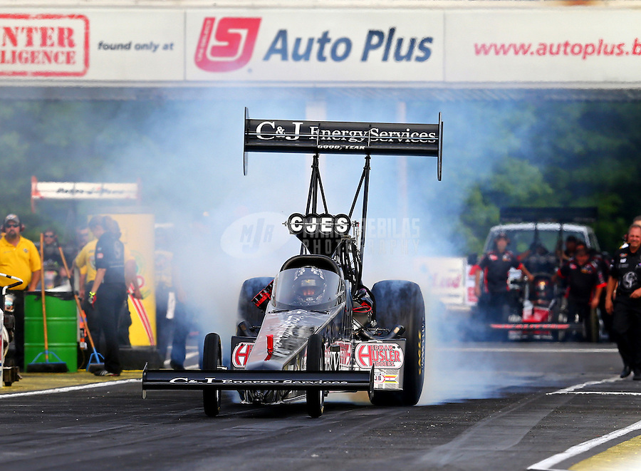May 15, 2015; Commerce, GA, USA; NHRA top fuel driver Larry Dixon during qualifying for the Southern Nationals at Atlanta Dragway. Mandatory Credit: Mark J. Rebilas-USA TODAY Sports