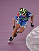 KAOHSIUNG – CHINA TAIPEI –15- 11 - 2015: Giulia Bonechi, patinadora de Italia, durante la prueba de los 300 metros juvenil damas en el Campeonato Mundial de Patinaje de Carreras se en el patinodromo FIRS Kaohsiung Roller Skating Arena de la ciudad de Kaohsiung en China Taipei  / Giulia Bonechi, skater of Italy, during the 300 meters Junior Ldaies test in the World Skating Championship, at the skating rink FIRS Roller Skating Arena Kaohsiung in Kaohsiung city in Chinese Taipei (Photo: VizzorImage / Luis Ramirez / Staff).