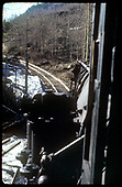 View down the track from the fireman's seat on RGS #455.<br /> RGS  Pandora, CO  Taken by August, Irving - 4/15/1949
