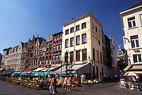 Belgium, Antwerp, Antwerpen, Europe, Outdoor cafés in town square in downtown Antwerpen.