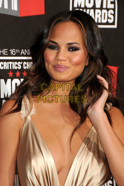 CHRISTINE TEIGEN .at The16th Annual Critics' Choice Movie Awards held at The Hollywood Palladium in Hollywood, California, USA, January 14th, 2011..portrait headshot hand beige silk satin  Chrissy .CAP/ADM/BP.©Byron Purvis/AdMedia/Capital Pictures.