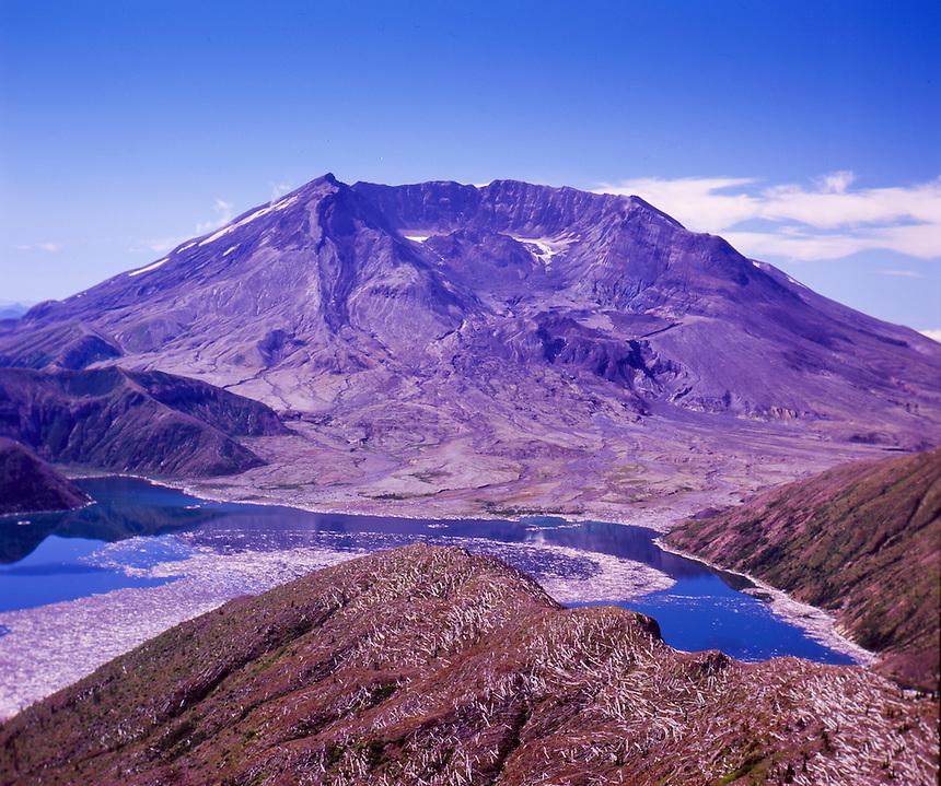 Mt. St. Helens and Spirit Lake from Mt. Margaret Backcountry, Mt. St. Helens National Volcanic Monument, Washington, US
