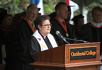 The Rev. Dr. Susan E. Young gives the invocation at Occidental College's 133rd Commencement at the Remsen Bird Hillside Theater, on Sunday, May 17, 2015.<br /> (Photo by Marc Campos, Occidental College Photographer)