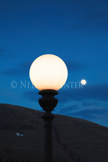 "A street light lamp post in Missoula, Montana during the full moon. With the ""L"" on Mount Jumbo"