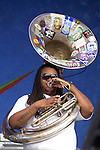 Edward Lee of the Soul Rebels performs during the New Orleans Jazz & Heritage Festival in New Orleans, LA.