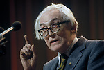 Michael Foot MP Press conference. 1980s
