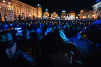 The crowd gather in European Square in Kiev. Political parties supporters and civil initiative, students continue to express their support to European integration and protesting against decision of Ukrainian government to refuse signing of association with EU in Vilnius.