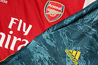 The new Arsenal home and goalkeeper shirts during the Arsenal FC 2019-20 Adidas Home Kit Launch at the Armoury Shop, Emirates Stadium on 1st July 2019