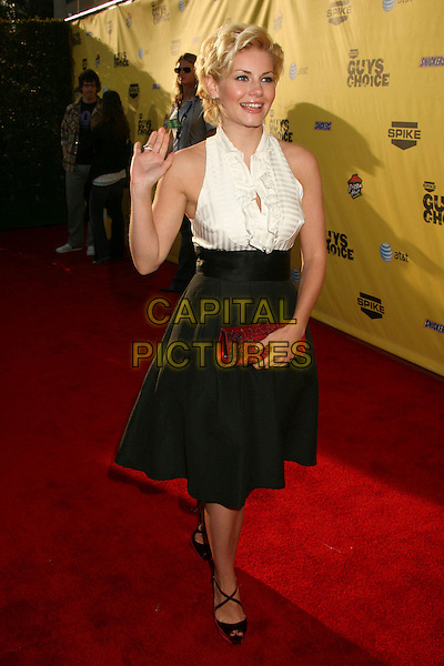"ELISHA CUTHBERT.Spike TV's ""Guy Choice"" Awards - Arrivals at Radford Studios, Studio City, California, USA..June 9th, 2007.full length black high waisted A-line skirt pockets white blouse bib frills ruffles sleevless top fifties style red clutch bag strappy shoes sandals .CAP/ADM/BP.©Byron Purvis/AdMedia/Capital Pictures"
