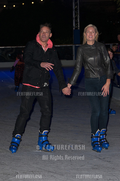 Toby Anstis and Stella English arriving at the Natural History Museum Ice Rink Launch, 30/10/2013 Picture by: Dave Norton / Featureflash
