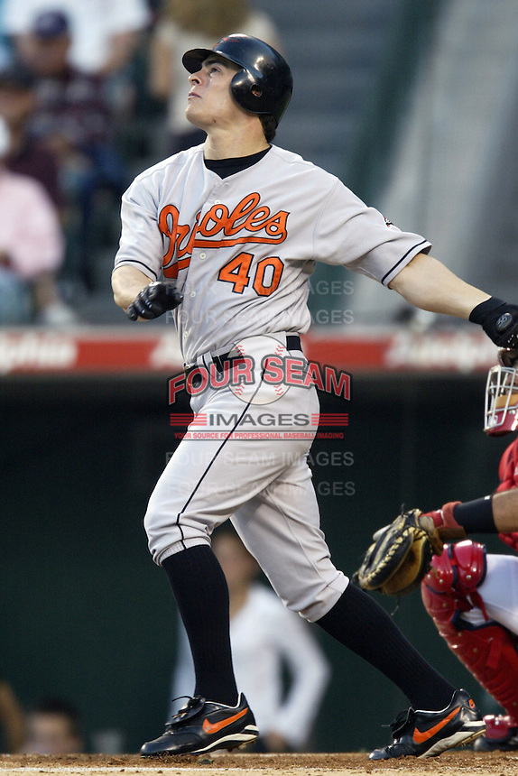 Marty Cordova of the Baltimore Orioles bats during a 2002 MLB season game against the Los Angeles Angels at Angel Stadium, in Los Angeles, California. (Larry Goren/Four Seam Images)