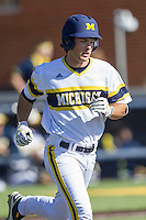 Michigan Wolverines outfielder Cody Bruder (3) runs to first base against the Central Michigan Chippewas on March 29, 2016 at Ray Fisher Stadium in Ann Arbor, Michigan. Michigan defeated Central Michigan 9-7. (Andrew Woolley/Four Seam Images)