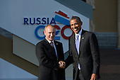 President Vladimir Putin of Russia, left, and President of the United States of America Barack Obama, right, during the official welcome of heads of delegations of G20 member states, invited countries, and international organizations 5 September 2013 in St. Petersburg, Russia.<br /> Mandatory Credit: Host Photo Agency via CNP