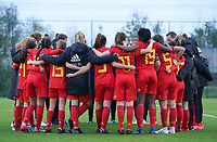 20191101 - Tubize: Belgian players celebrating their win with technical staff after the international friendly match between Red Flames U16 (Belgium) and Norway U16 on 1 November 2019 at Belgian Football Centre, Tubize. PHOTO:  SPORTPIX.BE   SEVIL OKTEM