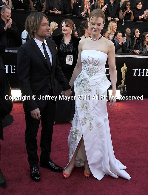HOLLYWOOD, CA - FEBRUARY 27: Keith Urban and Nicole Kidman arrive at the 83rd Annual Academy Awards held at the Kodak Theatre on February 27, 2011 in Hollywood, California.