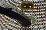 Abstract view of the futuristic looking Selfridges store with window and adjoining footbridge Birmingham England