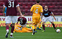 HEARTS' IAN BLACK GETS A STRIGHT RED FOR THIS CHALLENGE ON MOTHERWELL'S KEITH LASLEY